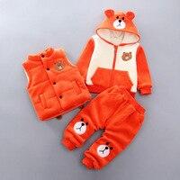 Baby Boy Clothes Spring Autumn Bear Plus Velvet Thick Cartoon Vest + Shirt Top+Pants Infant Clothes Set Casual Bebes Sport Suits