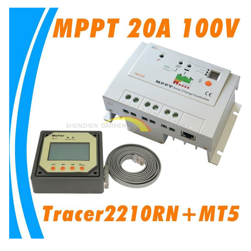 Real MPPT 20A Solar Charge Controller Tracer 2210RN with MT5 remote meter, 20amps EP MPPT Solar charge regulators DIY