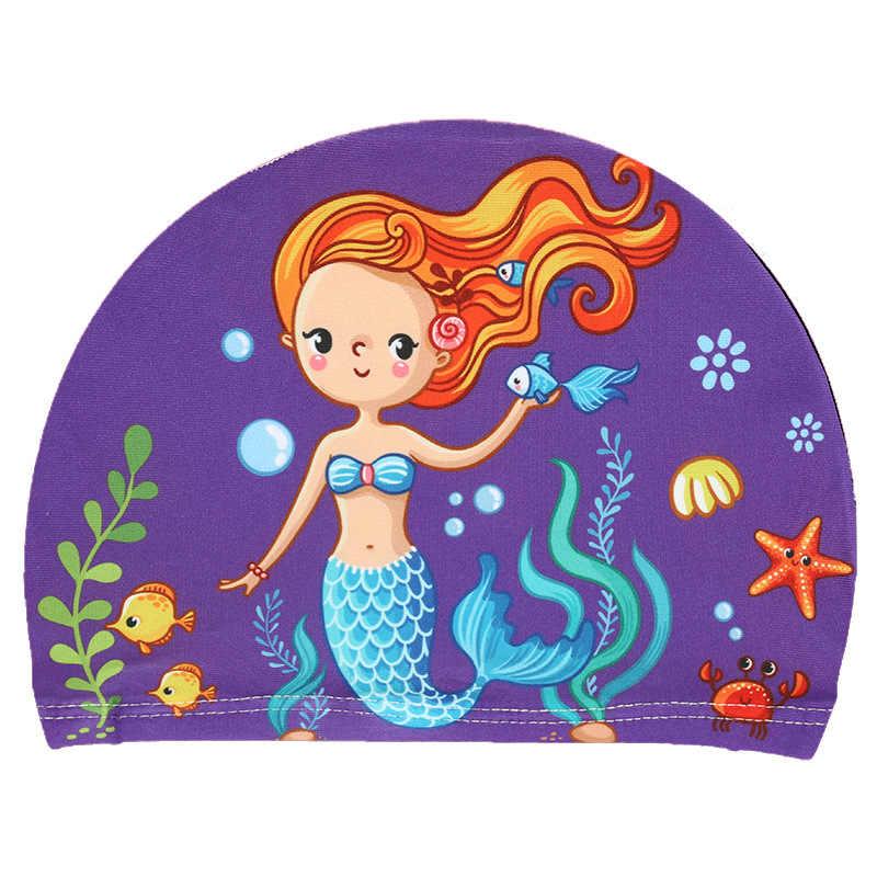 2019 เด็กใหม่การ์ตูนยืดหยุ่น Unicorn พิมพ์หมวกว่ายน้ำกีฬาสระว่ายน้ำชุดว่ายน้ำน่ารักหมวกว่ายน้ำเด็กหมวกว่ายน้ำ