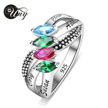 UNY 925 Sterling Silver Special Customized Engrave Rhodi Plated Birthstone Family Heirloom Elegant Anniversary Mothers Ring