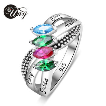 UNY Ring 925 Silver Custom Engrave Rings Personalized Birthstone Family Heirloom Ring Anniversary Love Promise DIY Mothers Rings