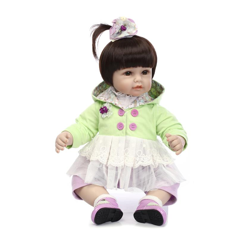 Nicery 20inch 50cm Lifelike Reborn Baby Doll Girl High Vinyl Christmas Toy Gift for Children Smile Princess Green white Dresses lifelike american 18 inches girl doll prices toy for children vinyl princess doll toys girl newest design