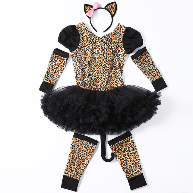 Kids Pretty Leopard Costume Little Girl Animal Costume Fancy Dress Party Leopard Pattern Dress with Tails  sc 1 st  AliExpress.com : leopard costume for boys  - Germanpascual.Com