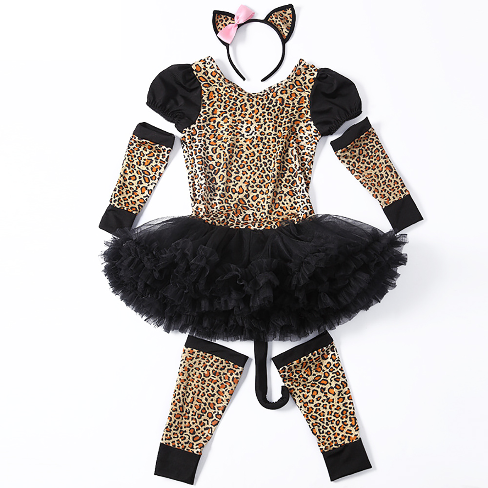 Kids Pretty Leopard Costume Little Girl Animal Costume Fancy Dress Party Leopard Pattern Dress with Tails Carnival Costumes