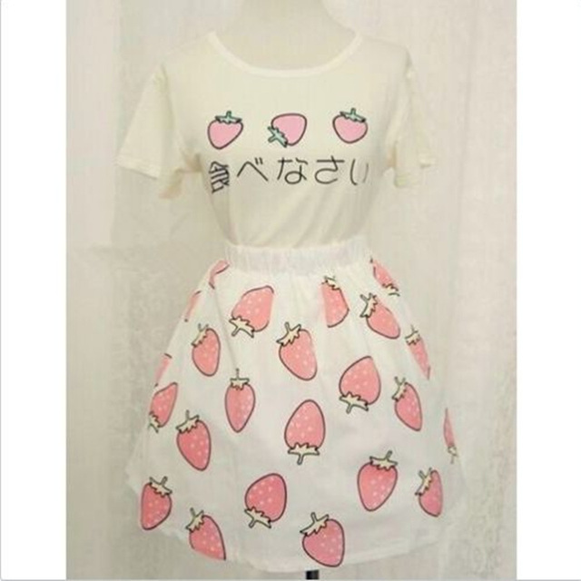 Summer Girl Sets Lolita Skirt Woman Japanese Kawaii Clothes Sweet Strawberry Costume T-shirt tops + Skirt Saias Liz Lisa
