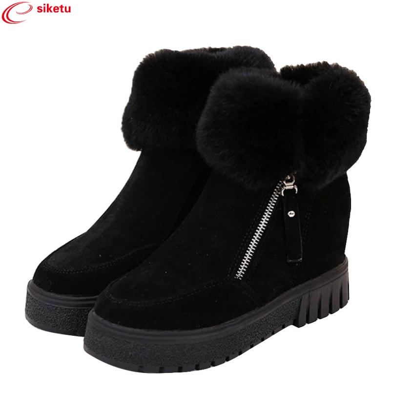 Charming Nice siketu Women Fashion Ankle Boots Flats Casual Shoes Warm Suede Shoes Best Gift Drop Shipping Y45 charming nice siketu best gift baby flats tassel soft sole cow leather shoes infant boy girl flats toddler moccasin y30
