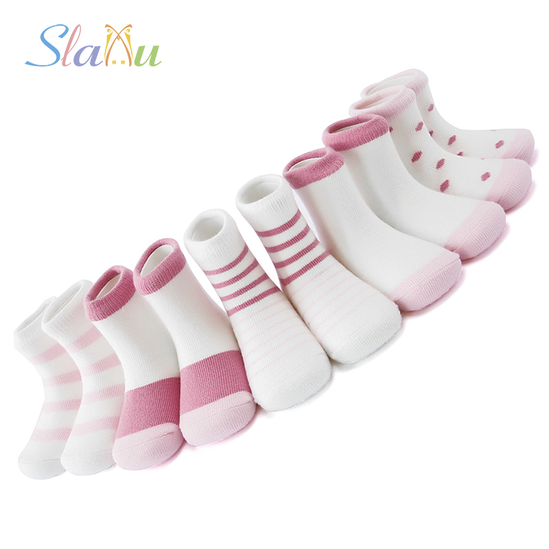 5 Pair/lot 5 Kinds Kids Socks Cotton Boys Girls Socks Soft Style Cute Stripe Spell Color For Baby Boy Girl Suitable For 1-12Y