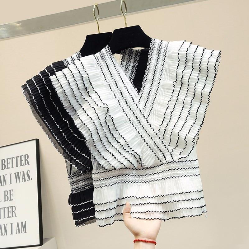 Sexy rayé à volants en mousseline de soie blouse blanc chemise d'été col en v maille patchwork femmes hauts et chemisiers blusas mujer de moda 2019 - 2