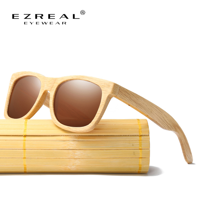 170ee7c66fe EZREAL New Fashion Products Men Women Glass Polarized Bamboo Sunglasses  Retro Vintage Wood Lens Wooden Frame Handmade EZ042