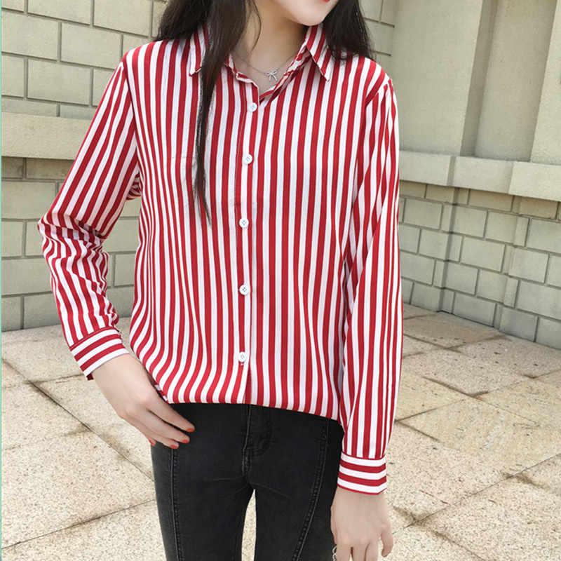 Ih Повседневная рубашка с v-образным вырезом и длинными рукавами, красная, черная, полосатая, офисная блузка, 2019, весенне-осенний Новый модный топ с отложным воротником