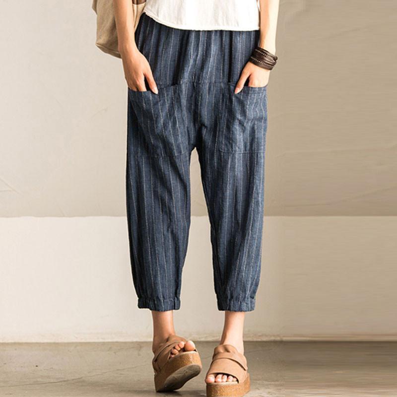 Zanzea Women Retro Striped Loose Harem Pants Casual High Elastic Waist Pockets Baggy Work Turnip Trousers Wide Leg Pantalon