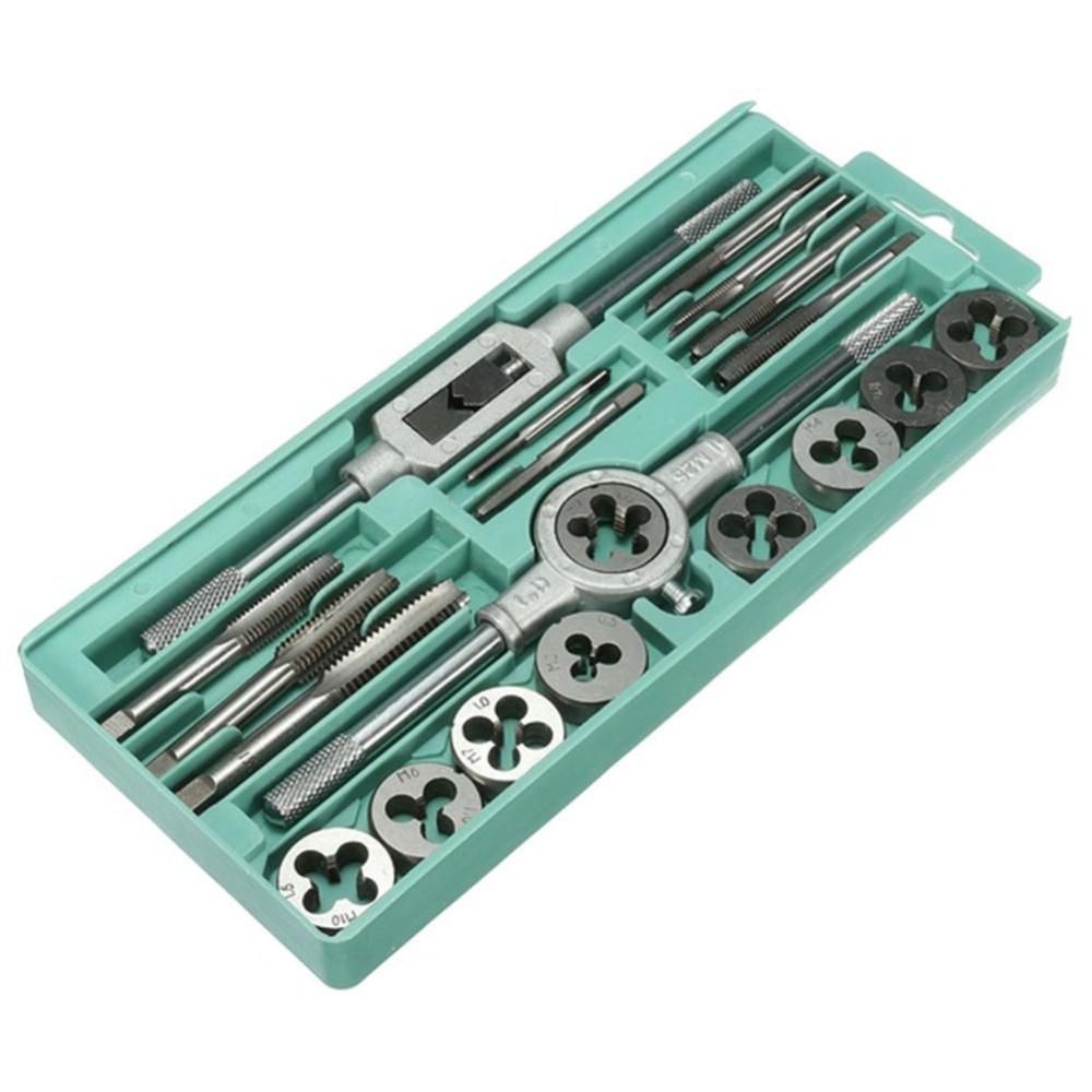 20PC/Lot Metric Hand Tap and Die Set M3-M12 Screw Thread Plugs Straight Taper Reamer Tools Adjustable Taps Dies Wrench 20pcs m3 m12 screw thread metric plugs taps tap wrench die wrench set