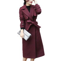 New Autumn Winter Coat Women Double Breasted Wool Coat Elegant Long Coat with Belt Brand Women Thicken Warm Jacket Plus Size 2XL