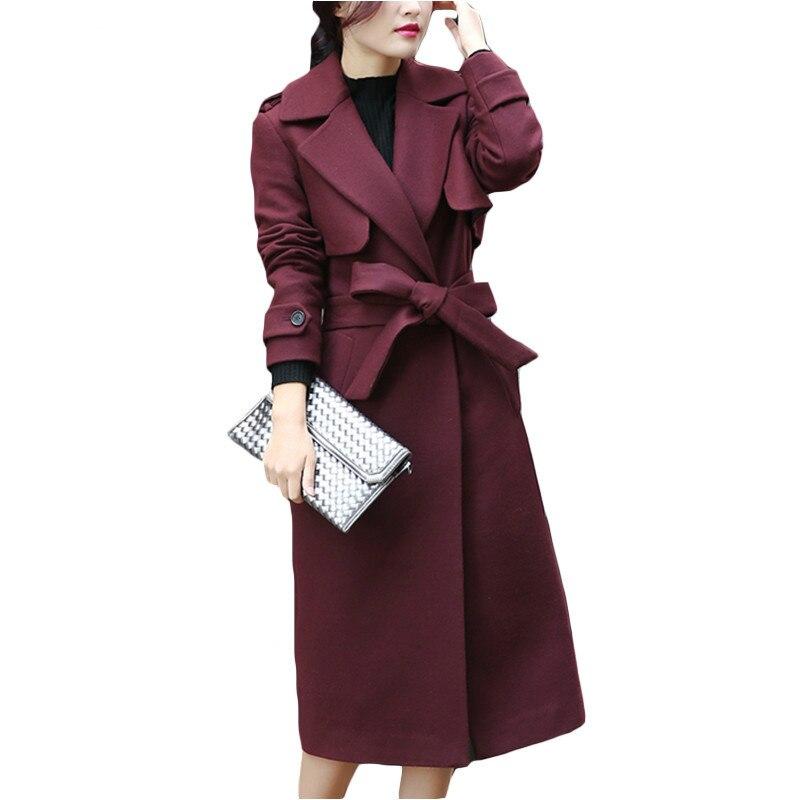 Nuovo Autunno Inverno Cappotto Donna Doppio Petto Cappotto di Lana Lungo Elegante cappotto con Cintura Donne di Marca Addensare Warm Jacket Plus Size 2XL