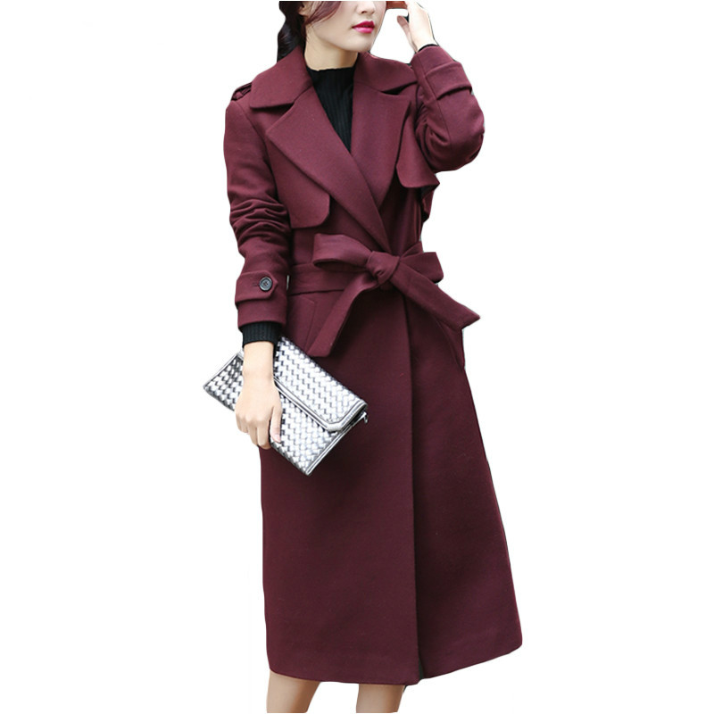 Kadın Giyim'ten Yün ve Karışımları'de Yeni Sonbahar Kış Ceket Kadın Kruvaze Yün Ceket Zarif Uzun Ceket ile Kemer Marka Kadınlar Kalınlaşmak sıcak Ceket Artı Boyutu 2XL'da  Grup 1
