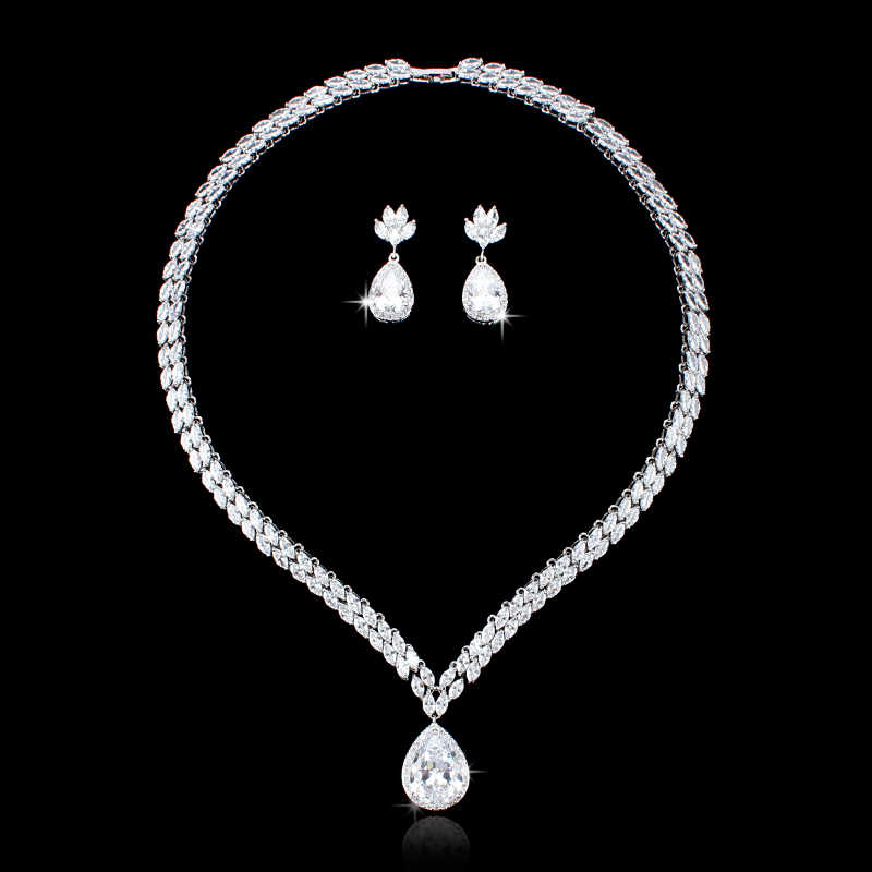 WEIMANJINGDIAN Luxury Marquise Cubic Zirconia Tennis Necklace and Teardrop Earring Rhodium Silver Color Wedding Jewelry Set