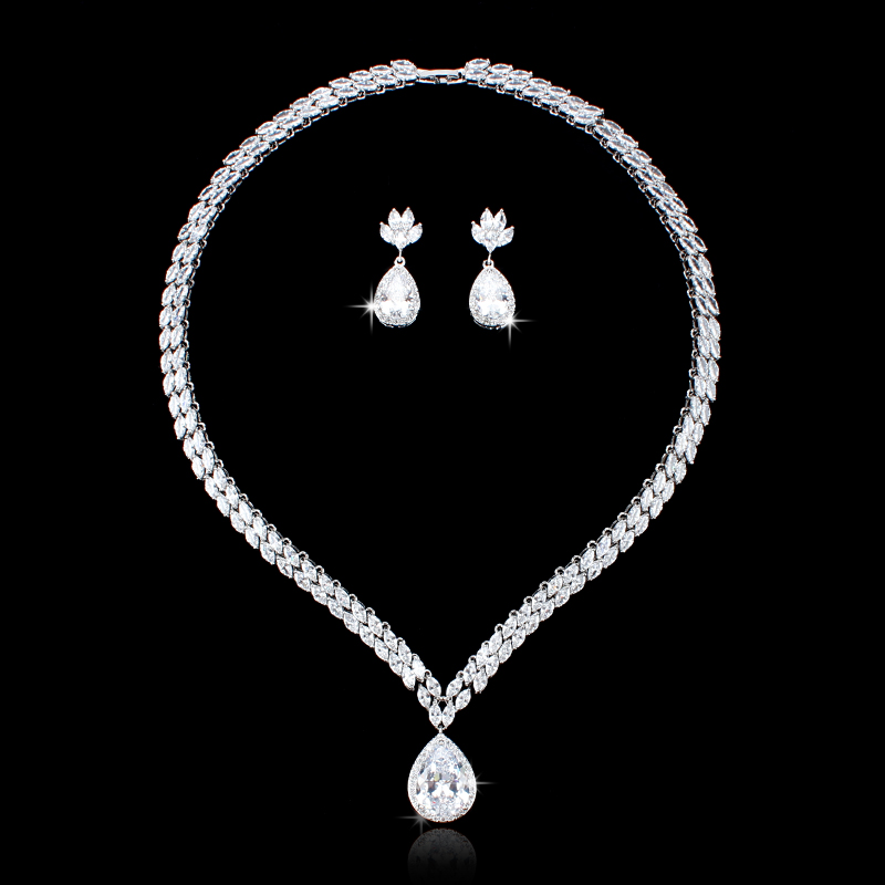 WEIMANJINGDIAN Luxury Marquise Cubic Zirconia Tennis Necklace and Teardrop Earring Rhodium Silver Color Wedding Jewelry SetWEIMANJINGDIAN Luxury Marquise Cubic Zirconia Tennis Necklace and Teardrop Earring Rhodium Silver Color Wedding Jewelry Set