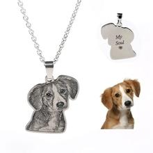 На заказ домашний питомец с индивидуальной надписью/кошка/собака фото ожерелье подвеска из нержавеющей стали выгравированное имя ожерелье Женщины Мужчины ювелирные изделия памятный подарок