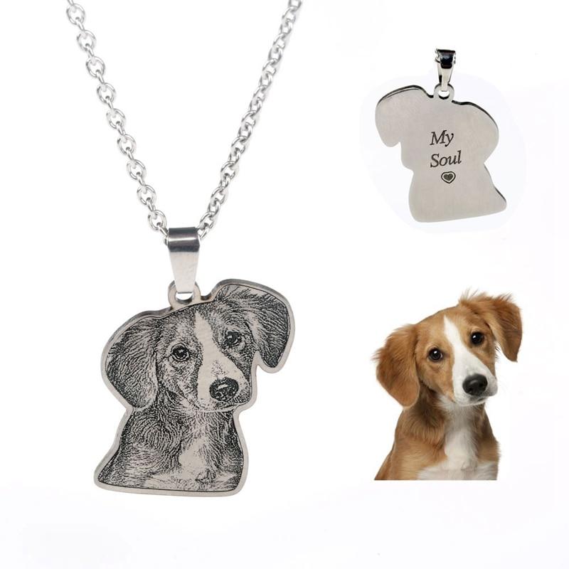 Personifizierte Pet/Katze/Hund Foto Halskette Anhänger Edelstahl Gravieren Name Halskette Frauen Männer Schmuck Memorial Geschenk