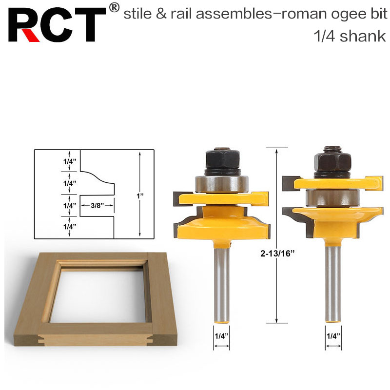 2 Bit Rail and Stile Router Bit Set - 1/4 Shank door knife Woodworking cutter Tenon Cutter for Woodworking Tools RCT 1 2 door nail cutter knife household west tenon joints fit together stitching carpentry knife blade 3pcs et