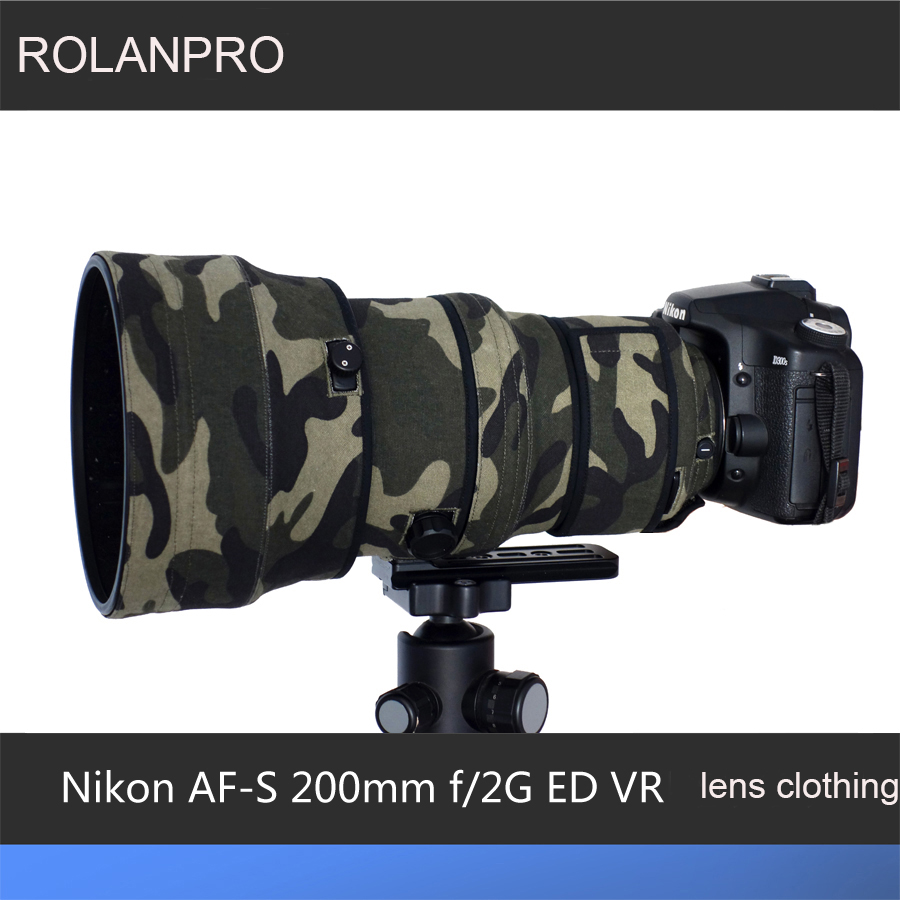 ROLANPRO Lens Clothing Camouflage Rain Cover for Nikon AF-S 200mm f/2G ED VR I and II Generations lens Protective Sleeve Guns baraf s 2g