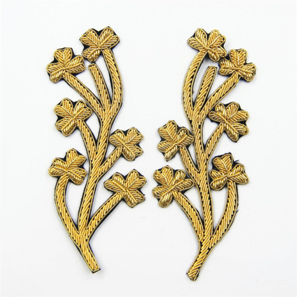 Diy Handmade Embroidered Patch: 1 Pair Of Gold India Silk Flower Patches Handmade