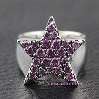 Тайский серебряное кольцо Justin Davis розовый полный горный хрусталь 925 чистого серебра пятиконечная звезда кольцо