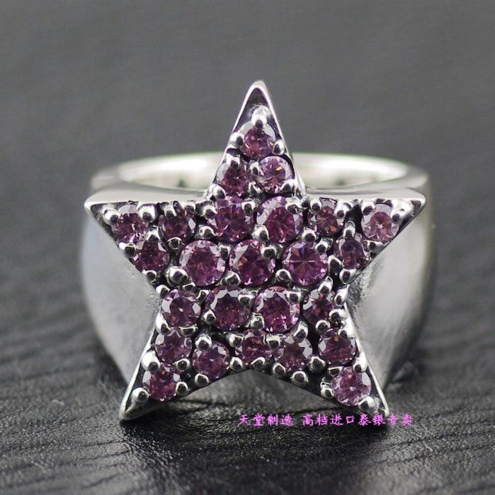 Bague thaï en argent justin davis rose strass complet 925 argent pur anneau étoile à cinq branches