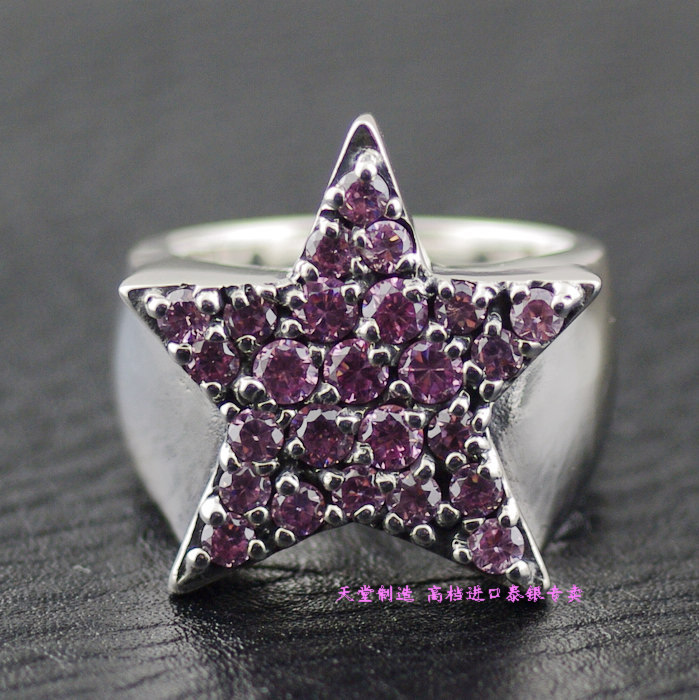 Thai silver ring justin davis Pink full rhinestone 925 pure silver five pointed star ring