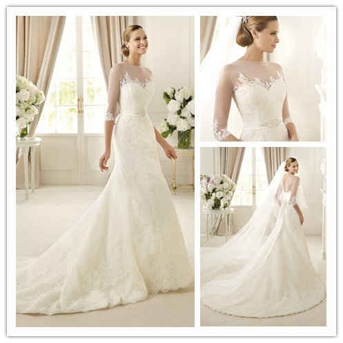 classic and modern white lace illusion neck a line long sleevs ...