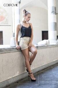 Image 5 - COLROVIE ผู้หญิงกระโปรงสั้นผู้หญิงเกาหลีเซ็กซี่ Clubwear ทองปักเลื่อมมินิกระโปรง