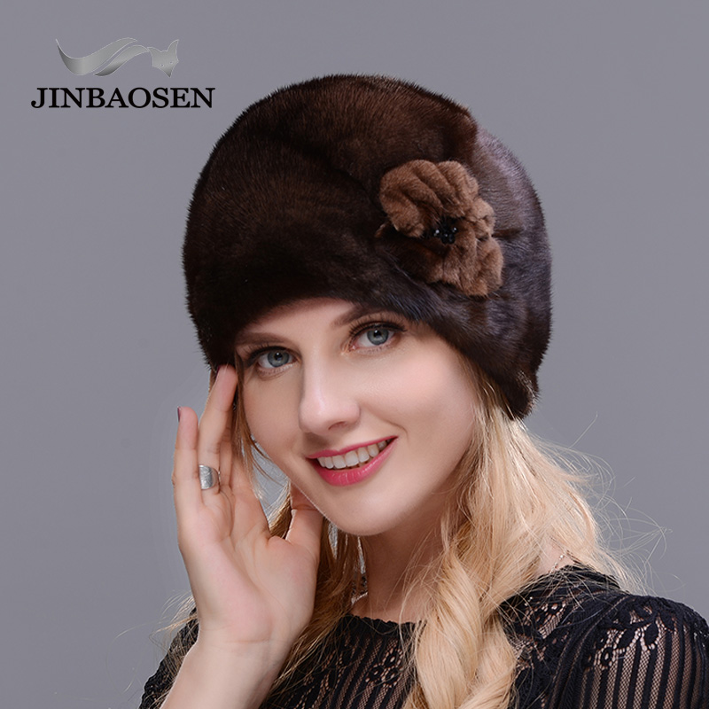 JINBAOSEN 2018 Winter skiing fur cap all real mink hat buds black fashion brown warmth high quality hat Christmas fur hat