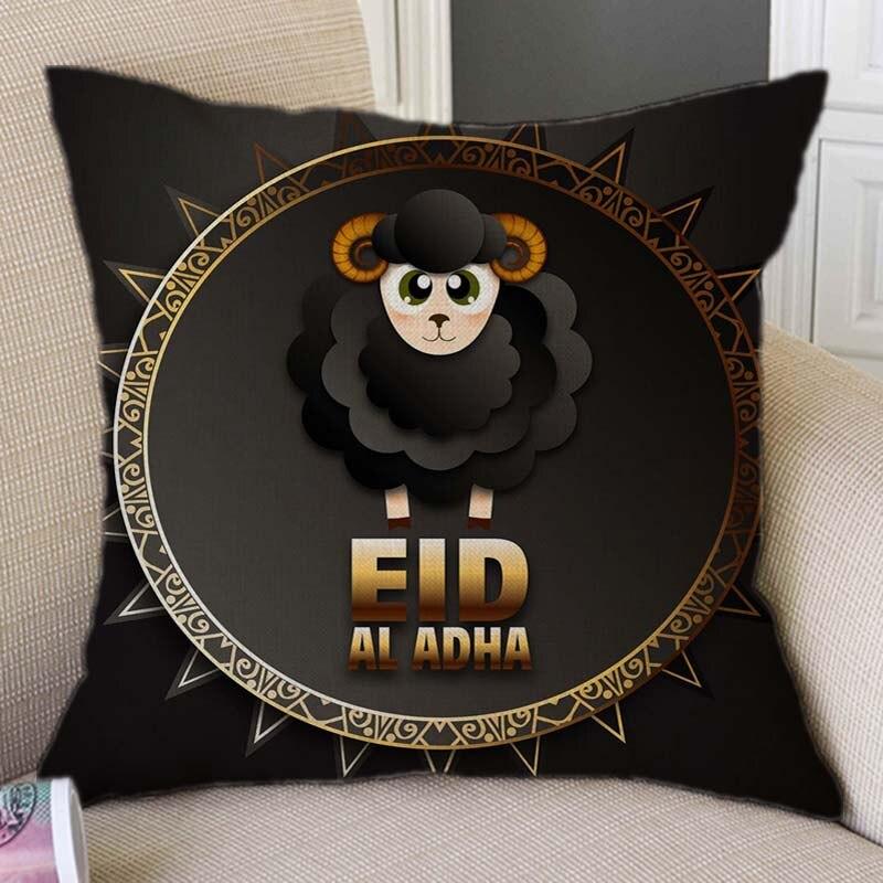 Enthousiast Zwart Eid Al Adha Mubarak Ontwerp Patroon Home Decoratieve Sofa Sierkussen Case Cartoon Schapen Islamitische Maan Art Kussenhoes Rillingen En Pijnen