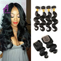 8a Peruvian Virgin Hair Body Wave With Closure Human Hair Bundles With Closure Peruvian Virgin Hair 4 Bundles With Closure