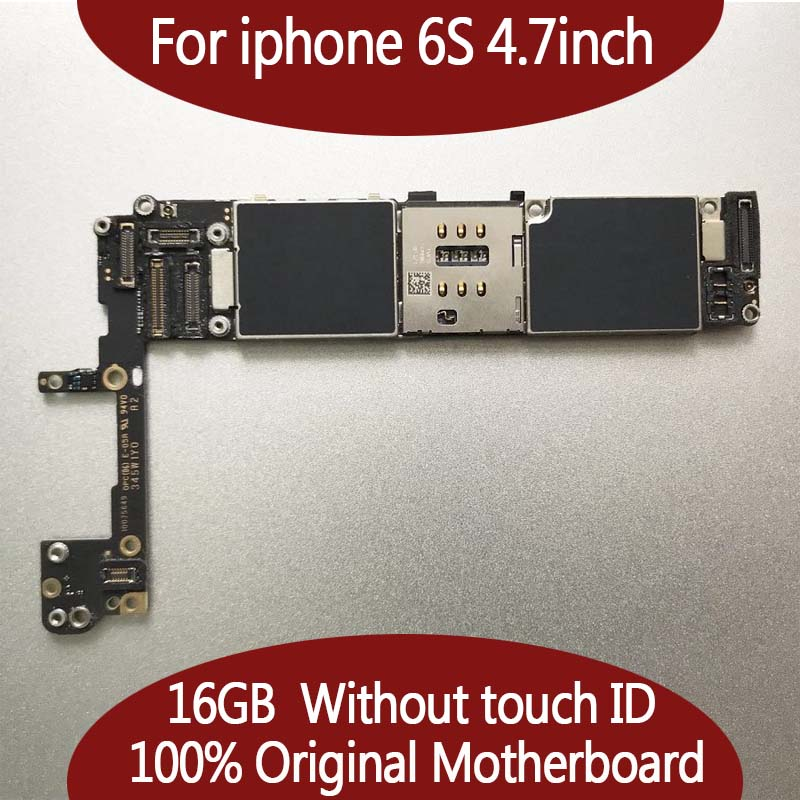 100% Original unlocked for iphone 6s Motherboard with Chips, 16GB for iphone 6s Mainboard without Touch ID