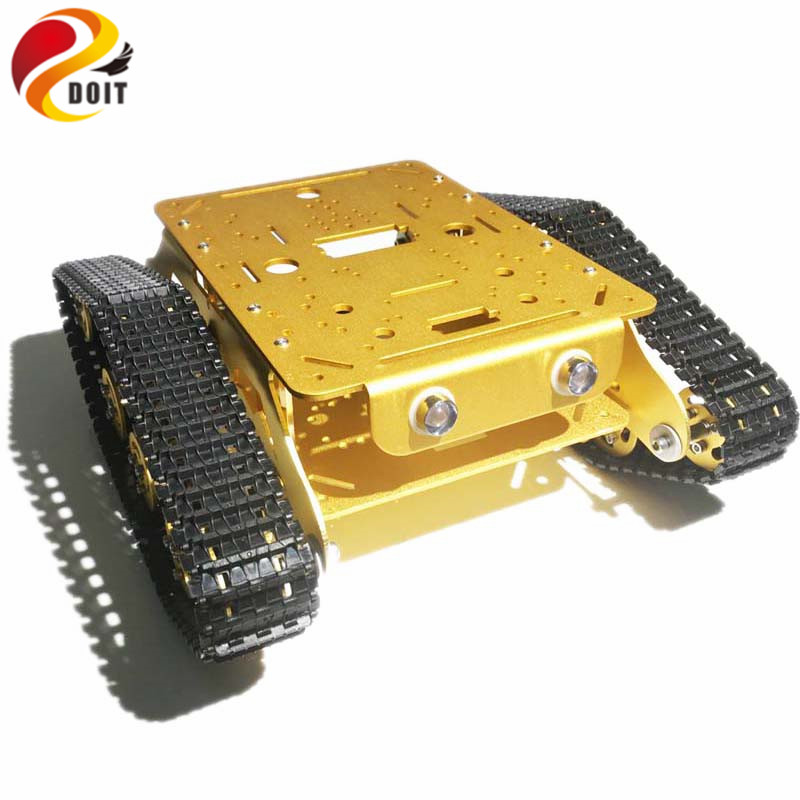 DOIT Metal Robot Tracked Tank Car Chassis Caeser TD300 with Aluminum Alloy Chassis/Frame for Robotic Competition/Modification RC official doit caeser ts600 4wd damping tracked metal tank car chassis smart robot toy robotic competition