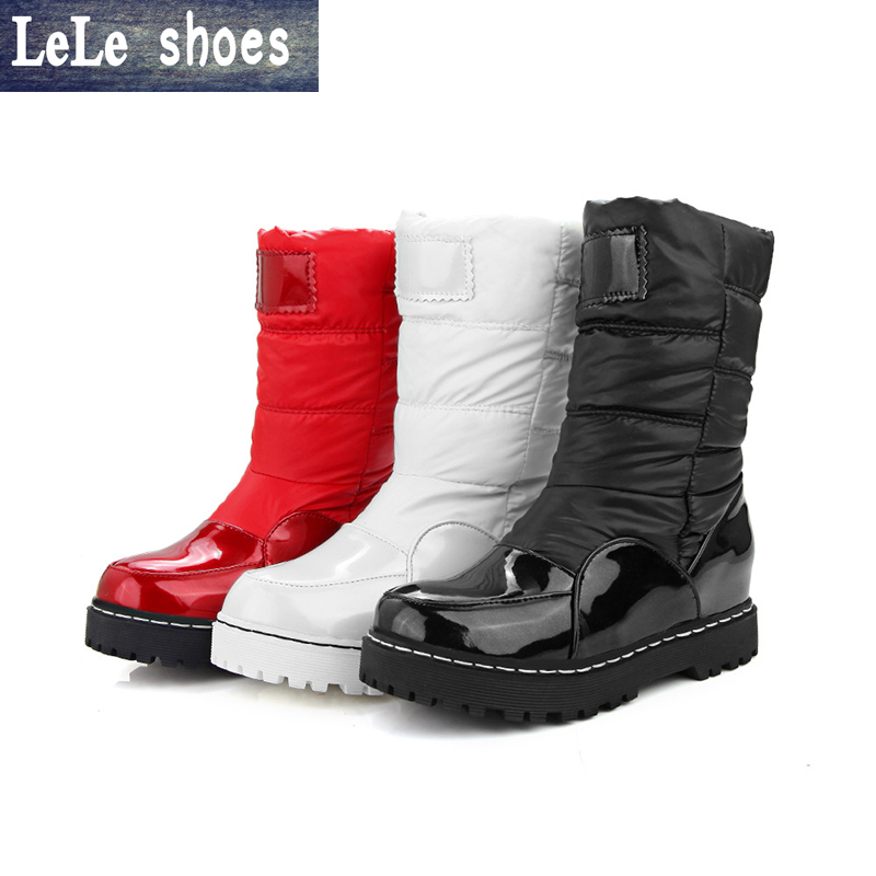 LELE Women Snow Boots Big Size 34-43 Patent Leather Patchwork Feather Ladies Shoes Platform Boots Bottes Femmes Zapatos Mujer union car styling for ford fusion headlights 2013 2015 new fusion led headlight original drl bi xenon lens high low beam parking