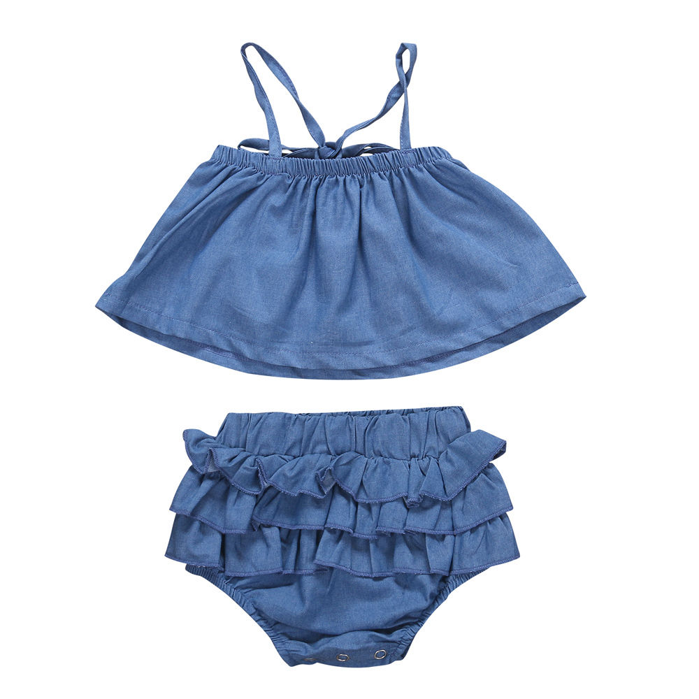Newborn Baby Girls Clothes Set Off Shoulder Girl Costume Blue Sleeveless Denim Tops Ruffle Shorts Outfits Summer Clothing 2PCs girls tops cute pants outfit clothes newborn kids baby girl clothing sets summer off shoulder striped short sleeve 1 6t