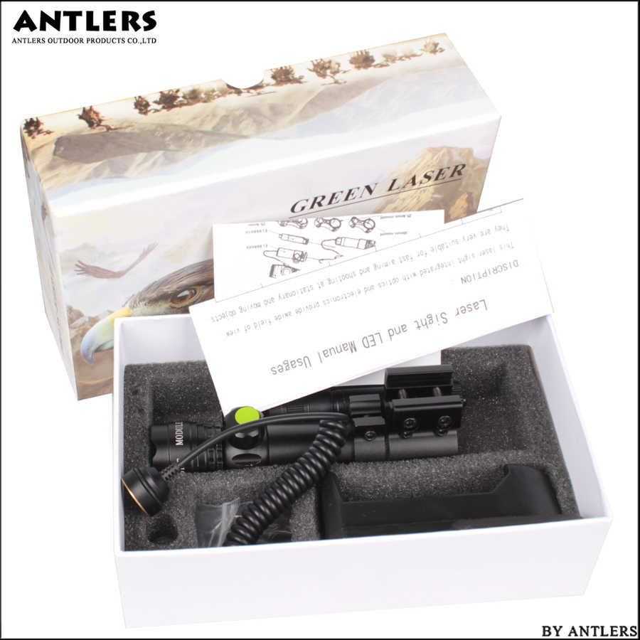 טקטי לייזר מצביע הר ירוק דוט לייזר Sight רובה ציד היקף 20mm עם לפיד רכבת חבית לחץ מתג הר