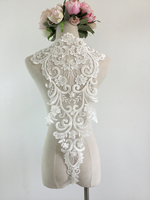 1 Pc Gorgeous Quality Beaded Rayon Ivory Bridal Lace Applique