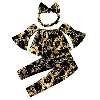 Conjunto de ropa informal de manga corta acampanada, con cuello de una palabra, estampado dorado, negro, Tops y pantalones negros con turbante, 3 uds.