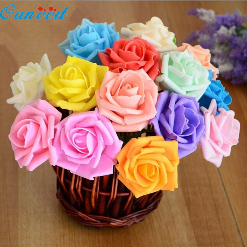 Ouneed Happy Home  50 Pcs Colorful Foam Roses Artificial Flower Wedding Bride Bouquet Party DIY