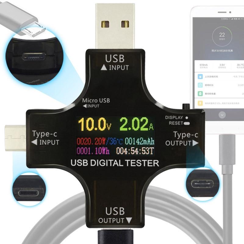 12 in 1 tester USB DC Digital voltmetro tensione corrente tipo-C PD meter amp volt amperometro rilevatore di banca di potere del caricatore indicatore