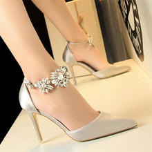 New high heel women's shoes stiletto high heel satin hollow shallow mouth pointed rhinestone word with sandals цены онлайн