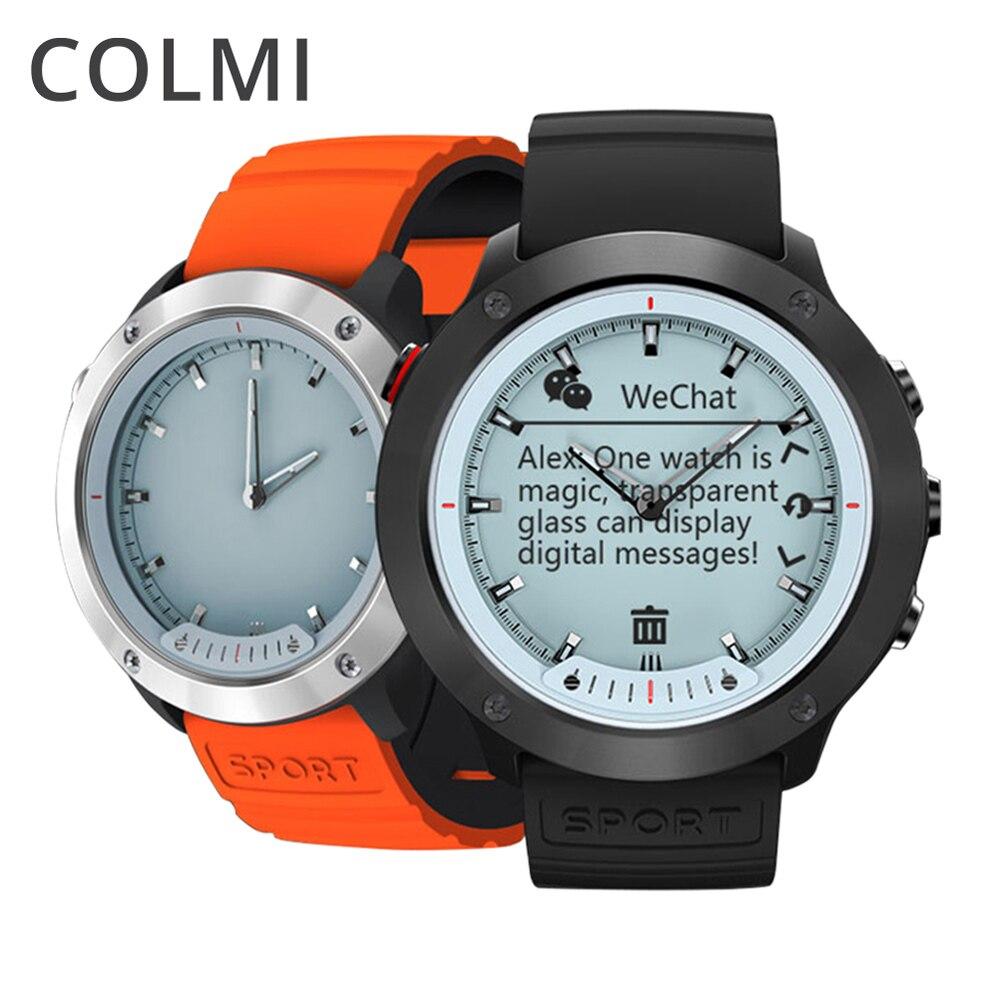 COLMI M5 Smart Gli Uomini IP68 Impermeabile Monitor di Frequenza Cardiaca Della Vigilanza Dello Schermo Trasparente In Acciaio Inox Orologio Smartwatch Per IOS Android