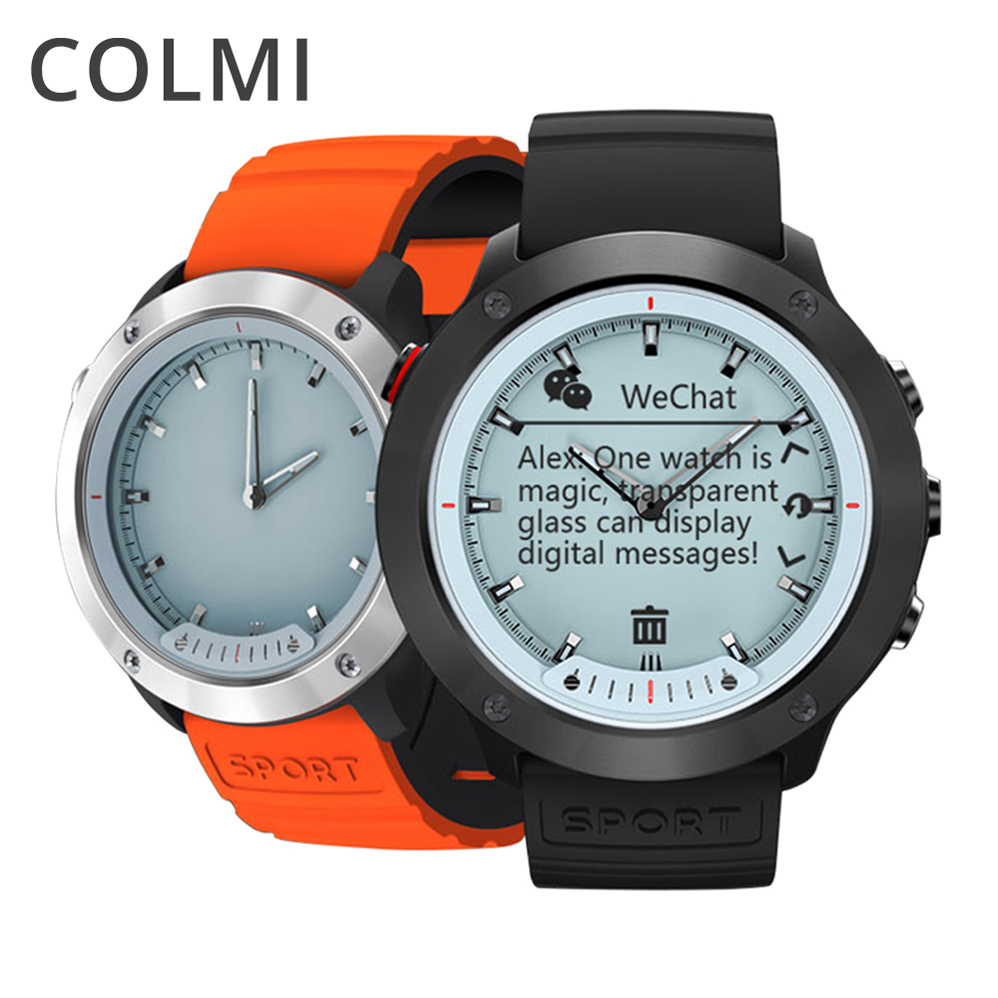 05bec3cf4e8 Homens IP68 COLMI M5 Relógio Inteligente Tela Transparente Aço Inoxidável À Prova  D  Água Heart Rate Monitor Relógio Smartwatch Para Android IOS em Relógios  ...