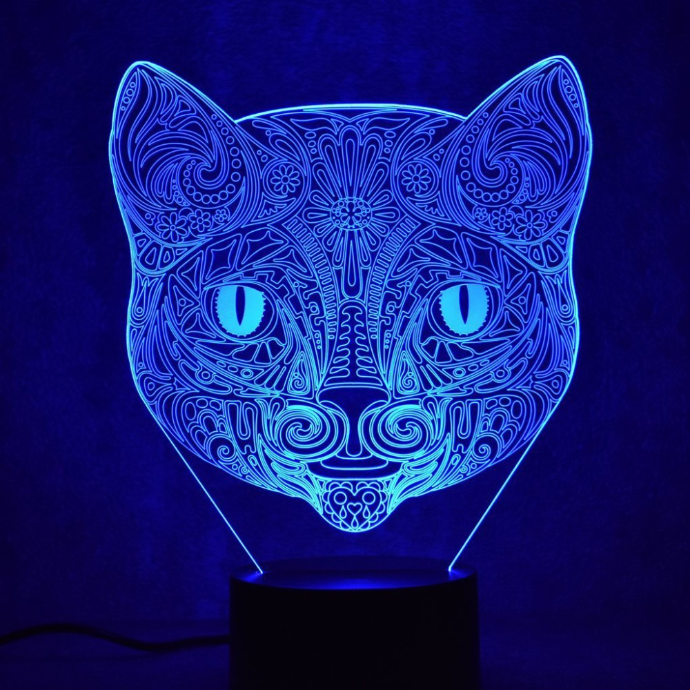 Creative 3D Colorful Visual Led Abstract Cat Head Shape Night Lights Usb Animal Table Lamp Bedroom Sleep Lighting Fixture Decor