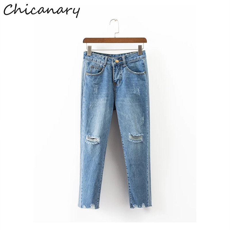Chicanary High Waist Knee Ripped Mom Jeans Women Distressed Raw Cut Crop Denim Pants