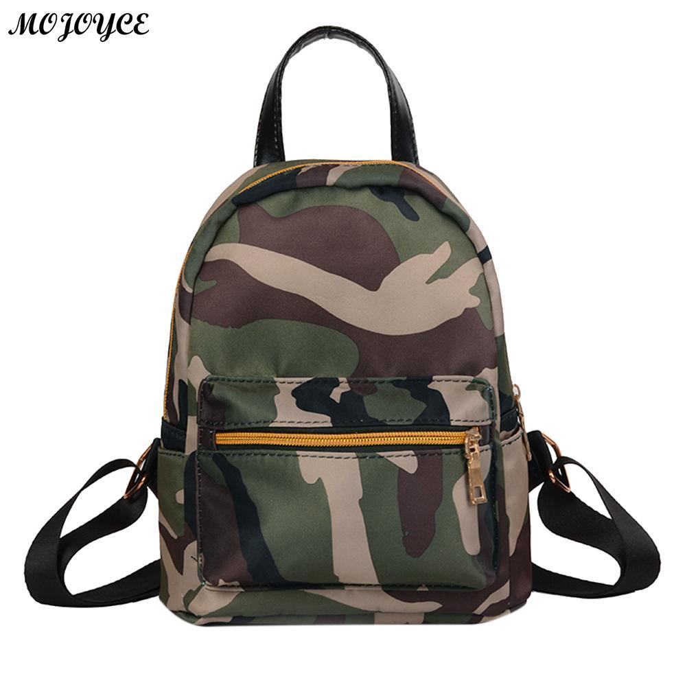 Women Oxford Canvas Mini Backpack Girls Camouflage School Bag Female Small Travel Rucksack Fashion Black Shoulder Bag