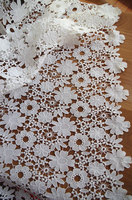 off white lace fabric, crocheted lace fabric with flowers 1yard
